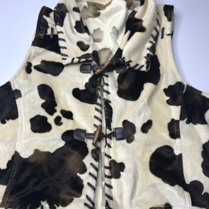 Wrangler vest size large brown and white cow print